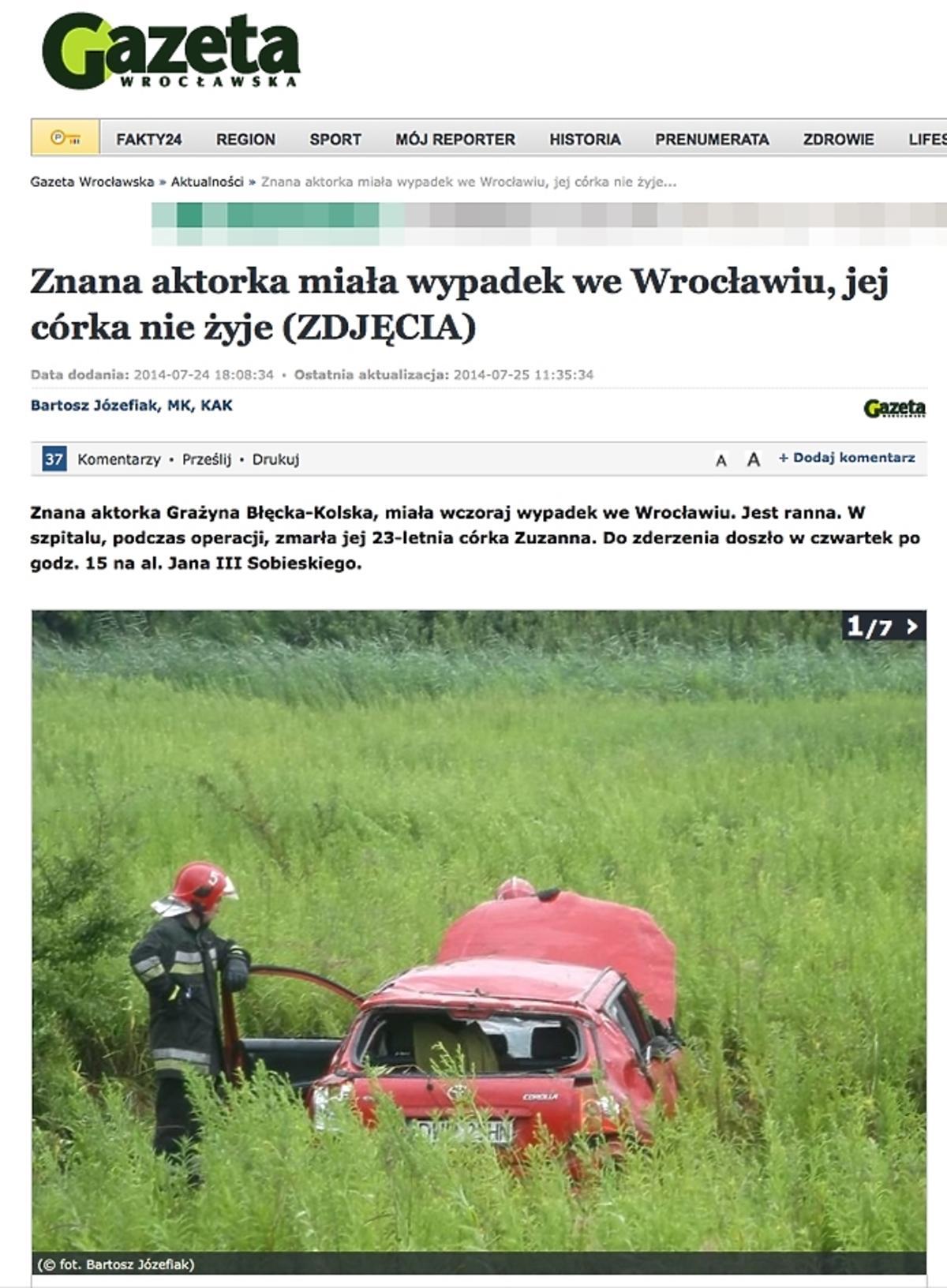 Grażyna Błęcka-Kolska miała wypadek. Zginęła jej córka