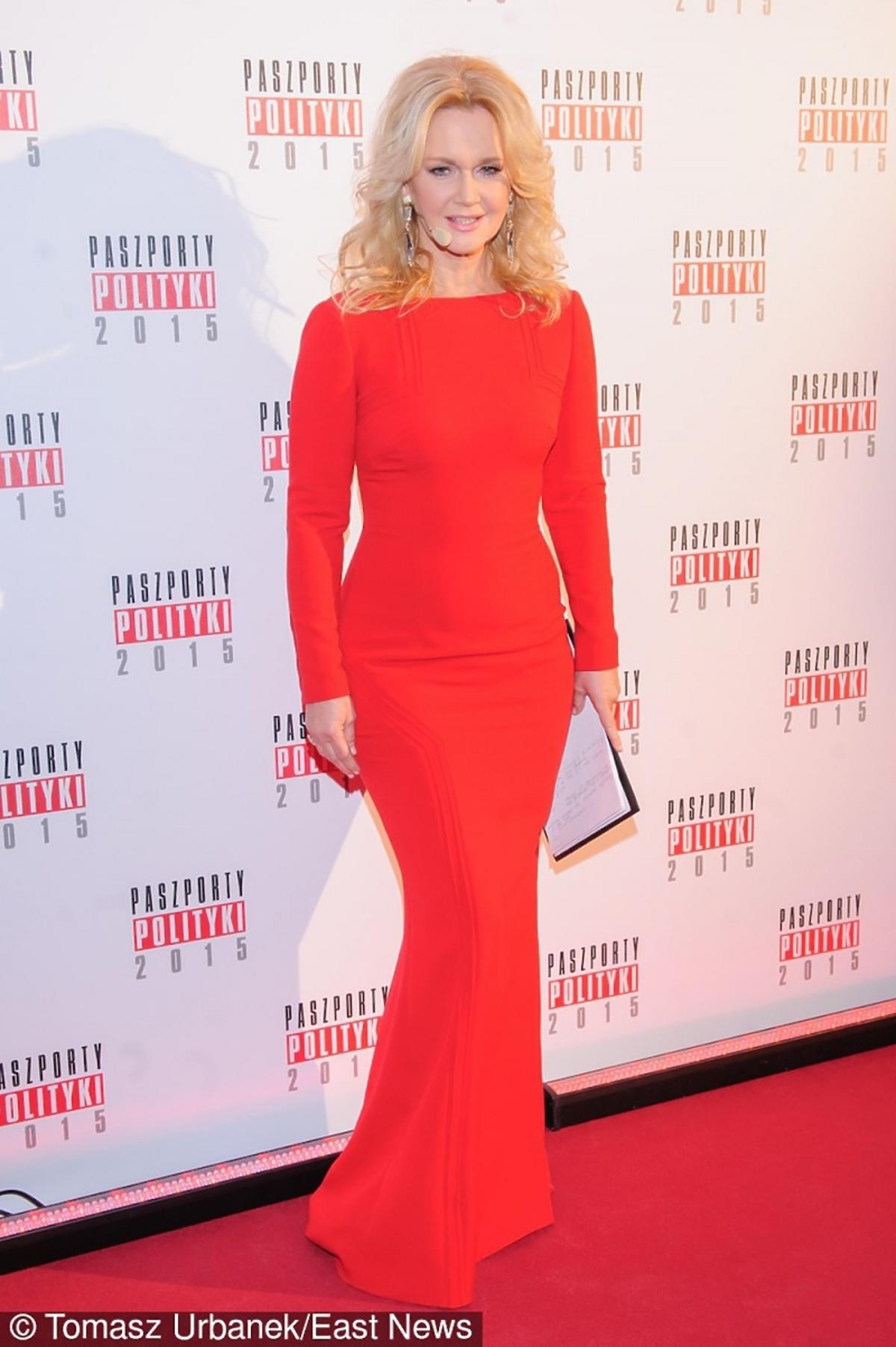 Grażyna Torbicka w czerwonej sukni