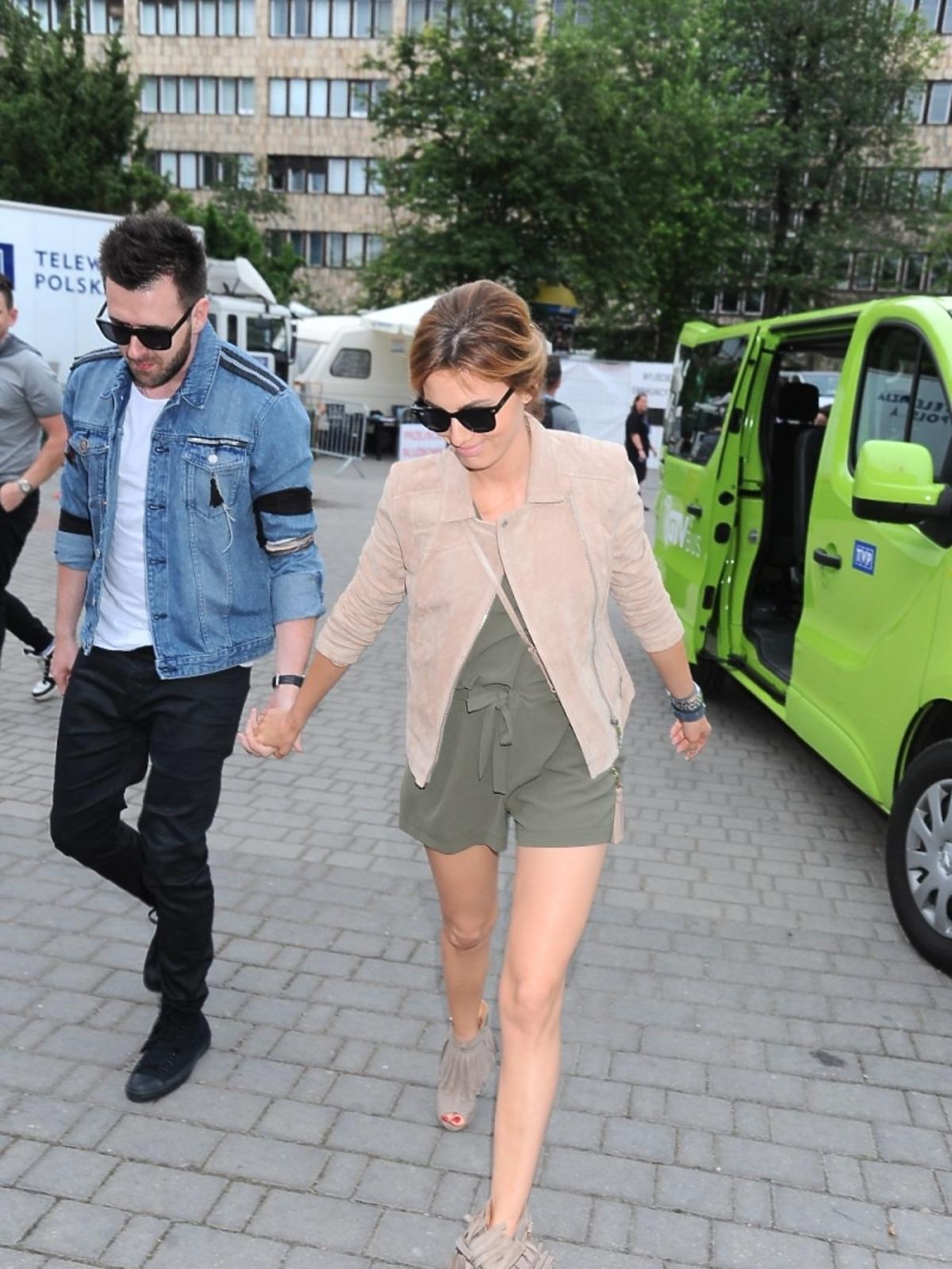 Grzegorz Hyży i Agnieszka Popielewicz na festiwalu w Opolu 2015