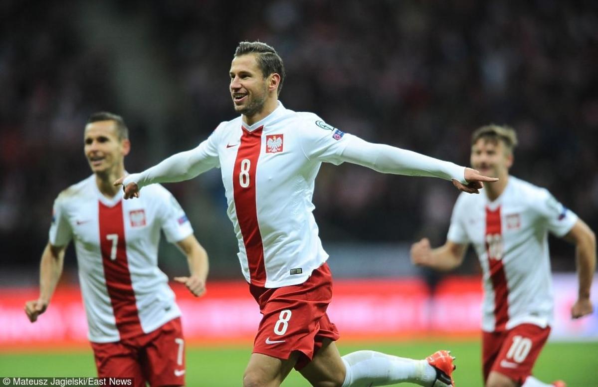 Grzegorz Krychowiak cieszy się z gola