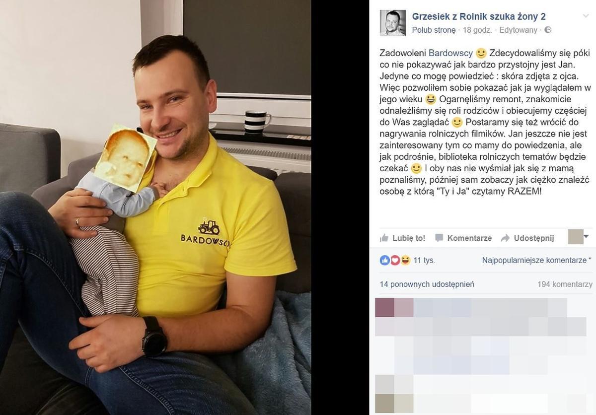 Grzesiek z Rolnik szuka żony pokazał zdjęcie z synem