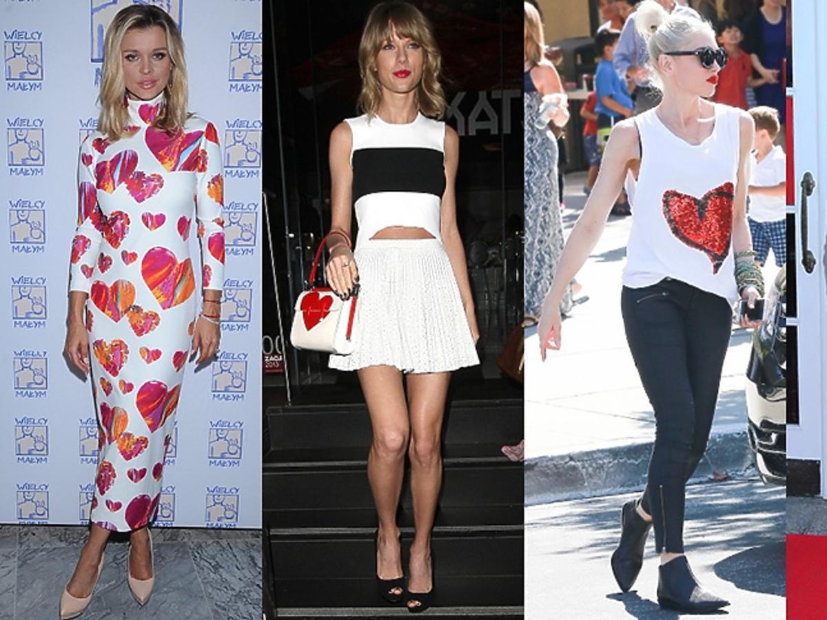 Gwen Stefani, Joanna Krupa, Maja Hyży, Taylor Swift w ubraniach z  motywem serca