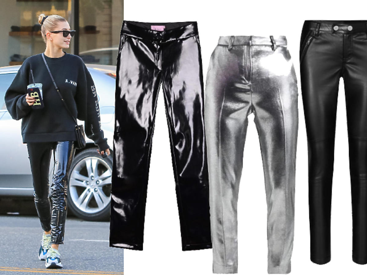 Hailey Baldwin lateksowe spodnie
