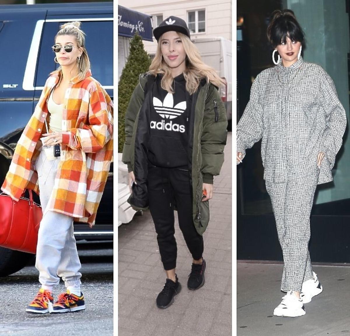 Hailey Bieber, Ewa Chodakowska, Selena Gomez w sportowych sneakersach