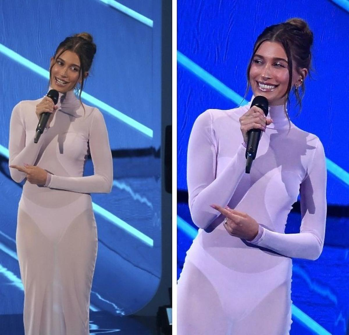 Hailey Bieber w przezroczystej sukience naMTV VMA