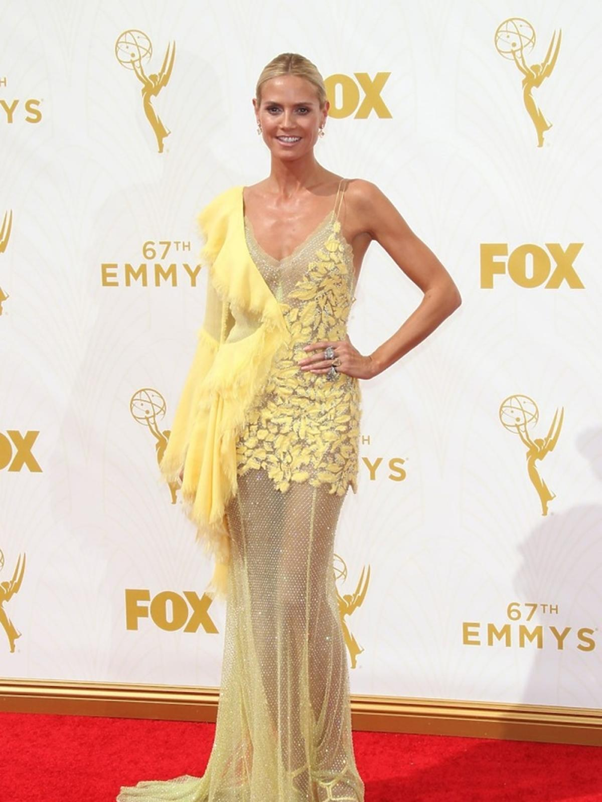 Heidi Klum żółtej sukience
