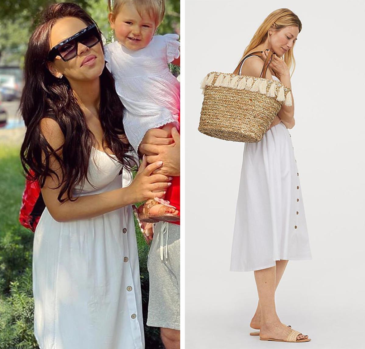 H&M. Biała sukienka z lnu. Sukienka w stylu Sylwii Bomby