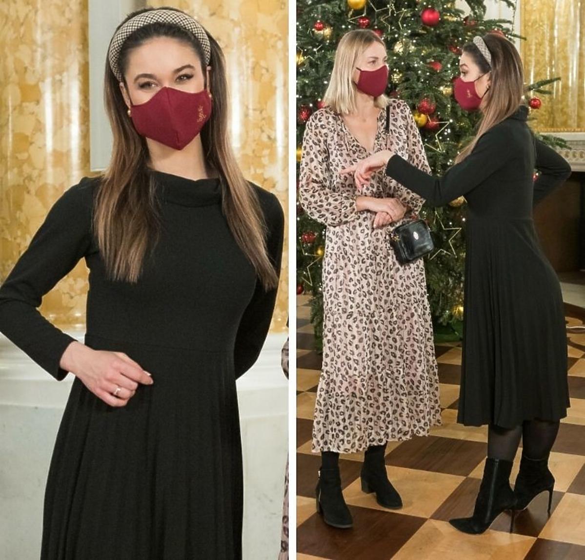 Ida Nowakowska w czarnej sukience i w bordowej maseczce ochronnej