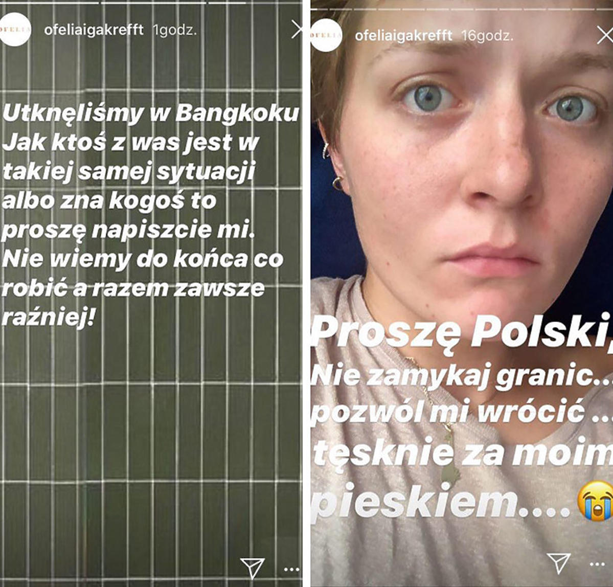 Iga Krefft nie może wrócić do Polski z powodu koronawirusa