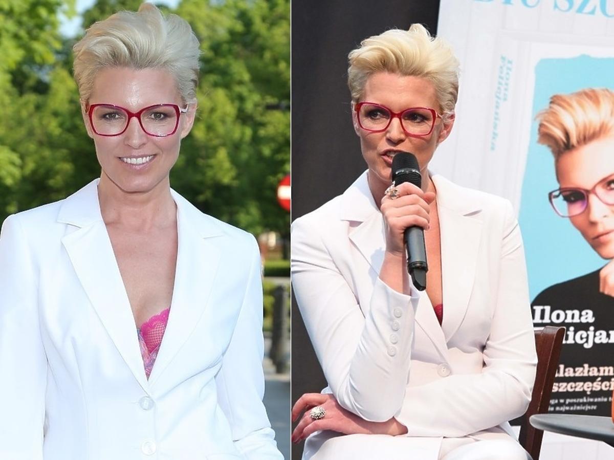 Ilona Felicjańska w białym garniturze