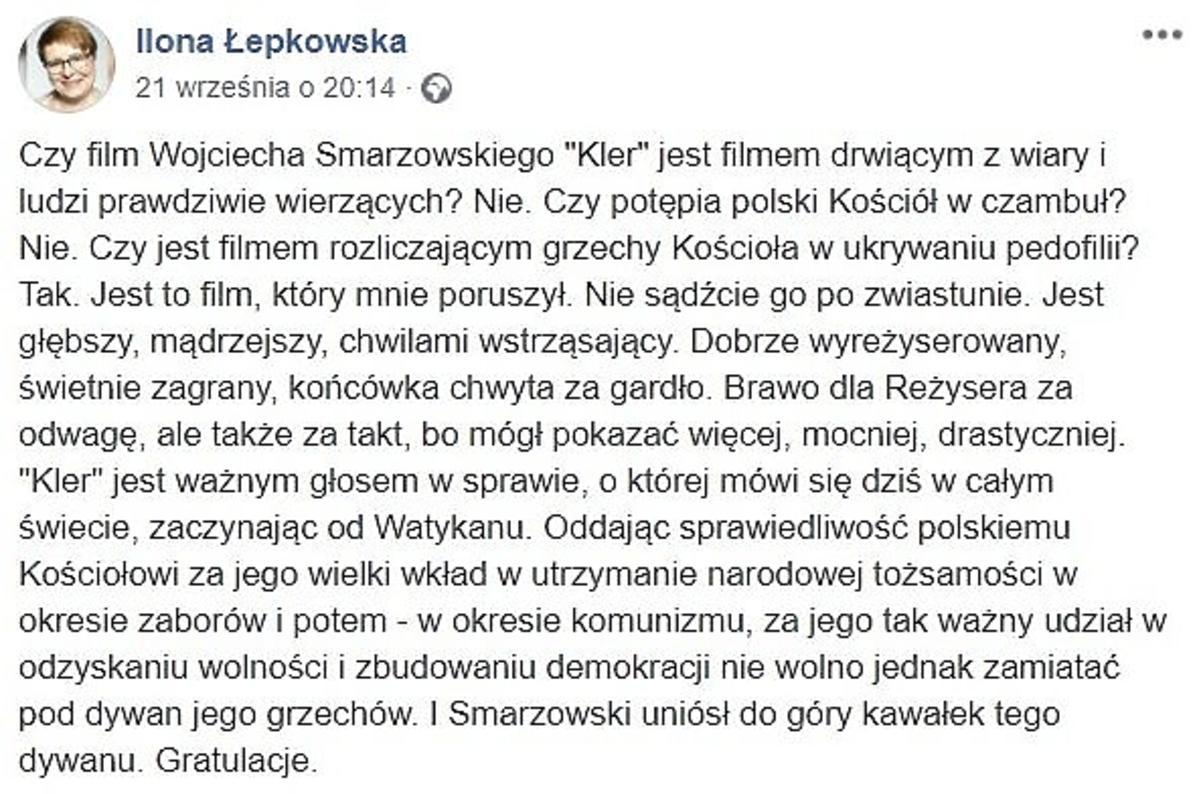 Ilona Łepkowska oceniła film