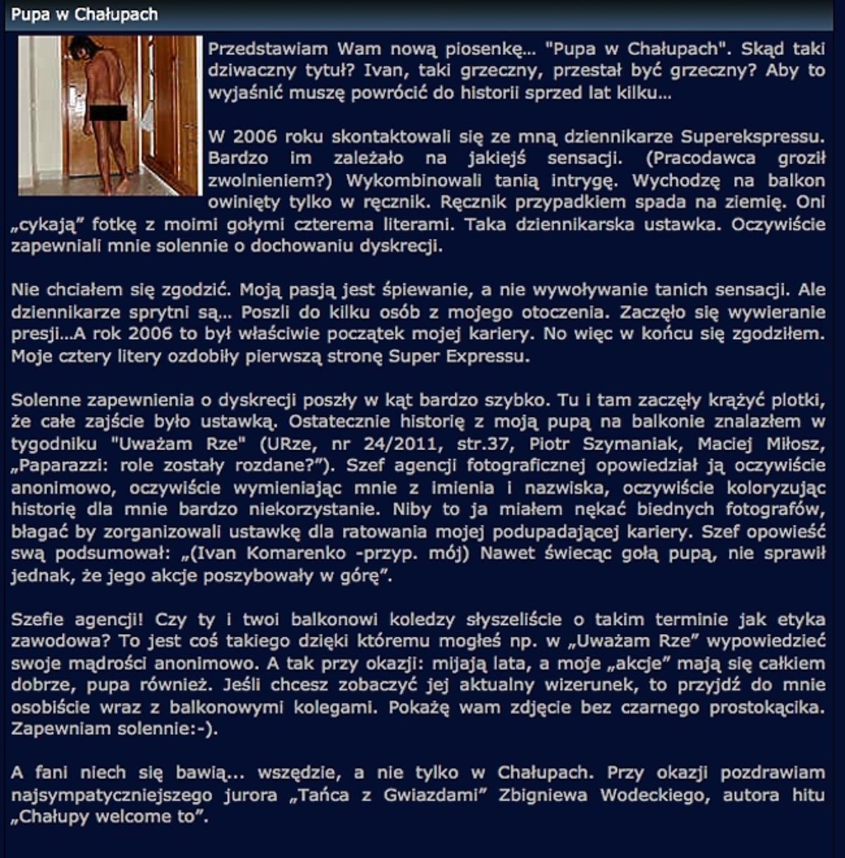 Ivan Komarenko o ustawce Super Expressu