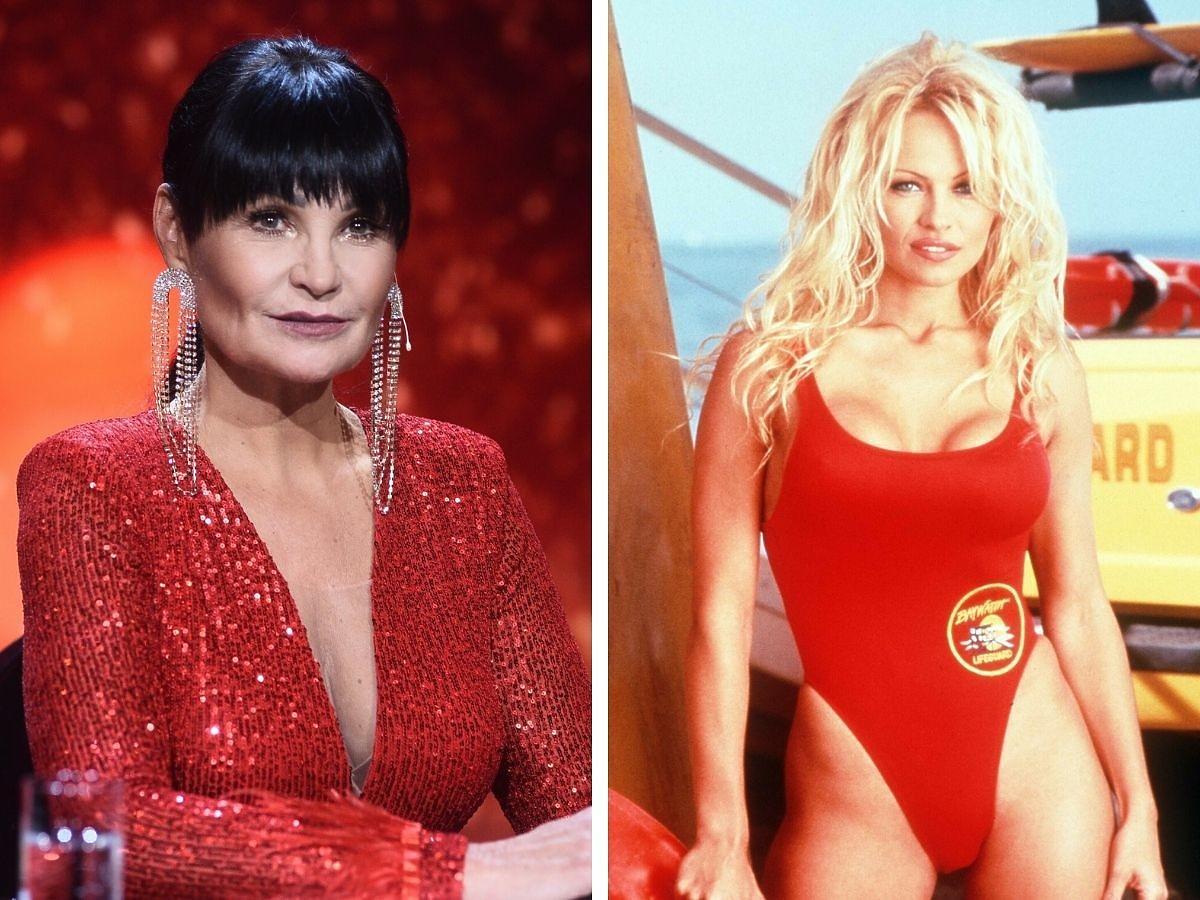 Iwona Pavlowić, obok Pamela Anderson w czerwonym kostiumie ze Słonecznego patrolu