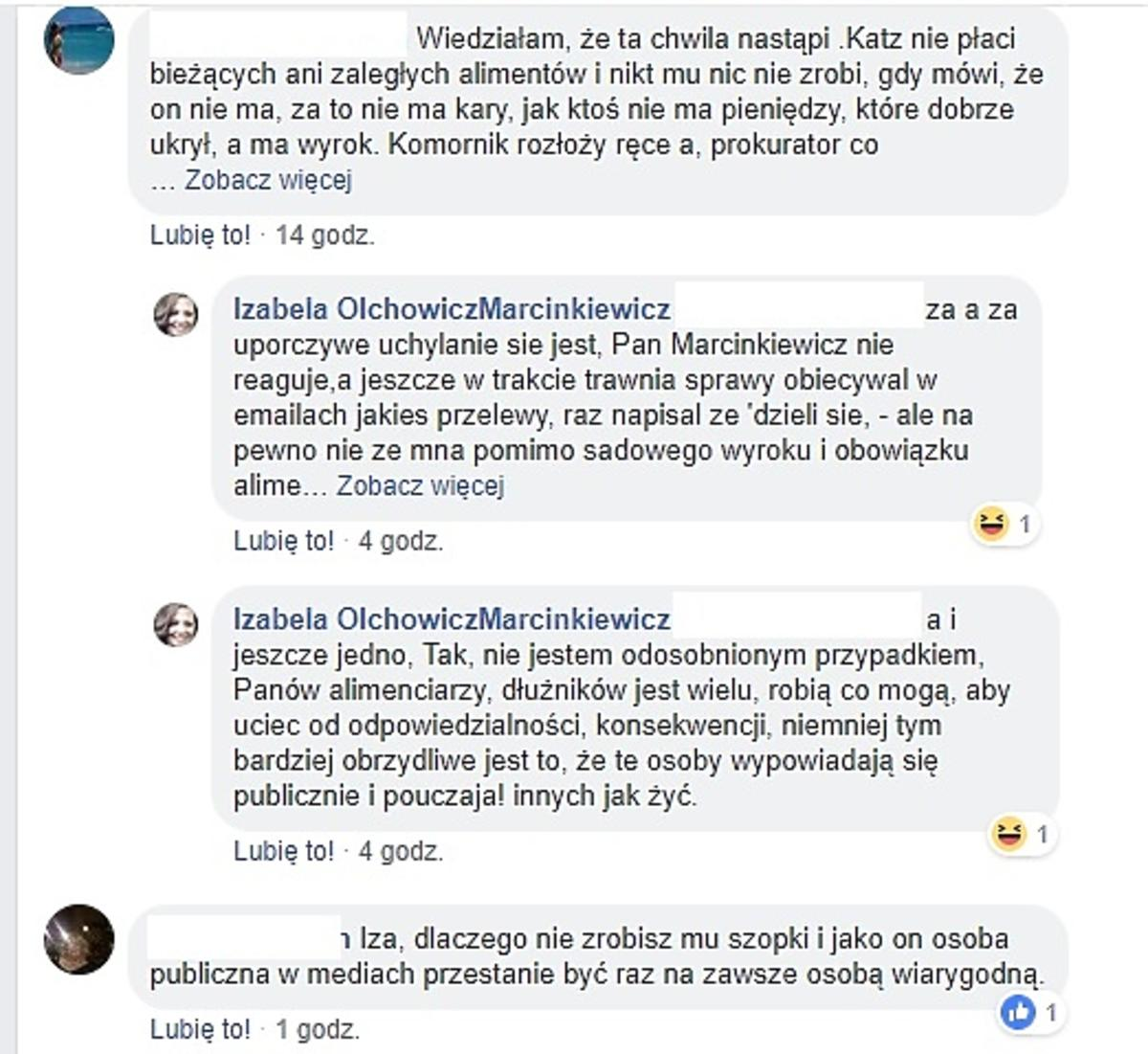 Izabela Marcinkiewicz zrzutka na książkę komentarze o alimentach