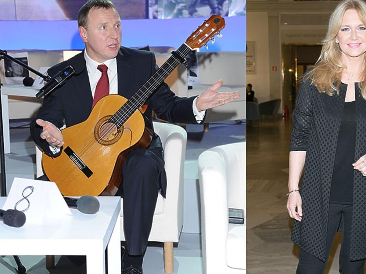 Jacek Kurski gra na gitarze, Grażyna Torbicka w czarnym płaszczu