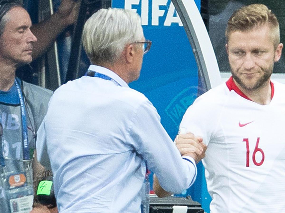 Jakub Błaszczykowski i Adam Nawałka podczas meczu z Japonią