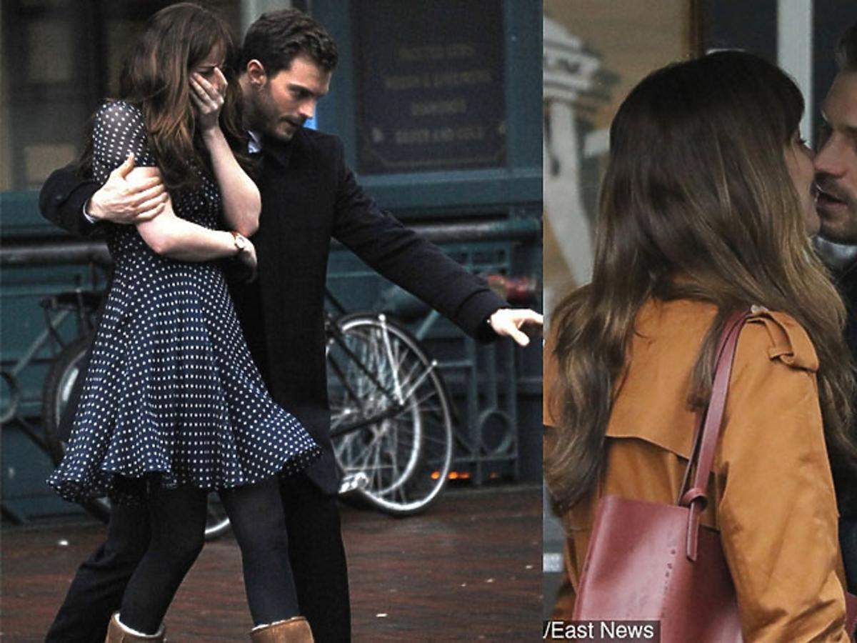 Jamie Dornan, Dakota Johnson całują się na planie Greya