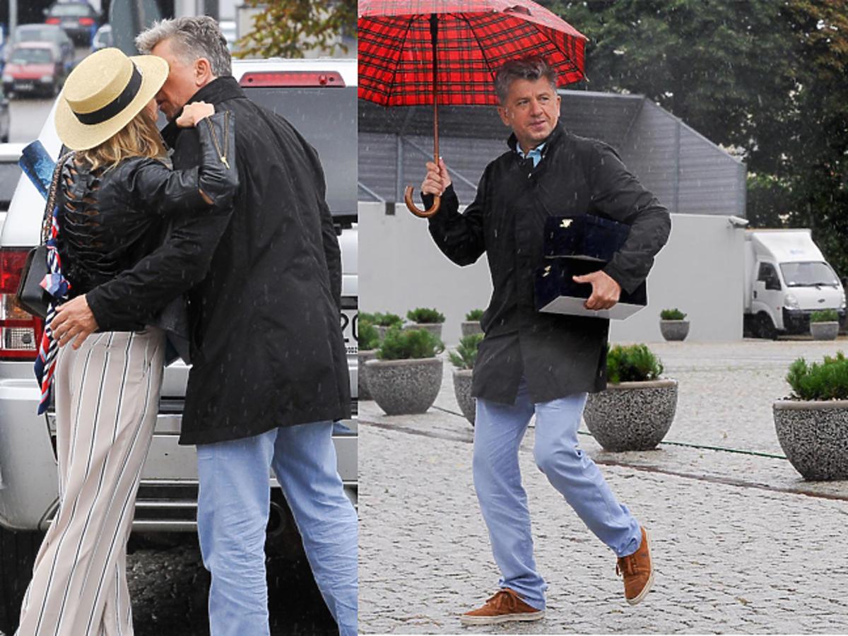 Janusz Józefowicz całuje Nataszę Urbańską na parkingu