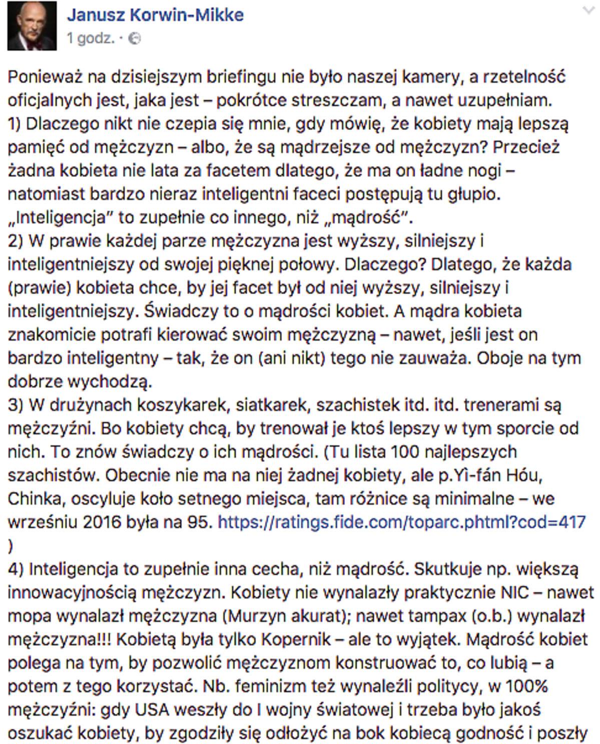 Janusz Korwin-Mikke o swojej wypowiedzi o kobietach