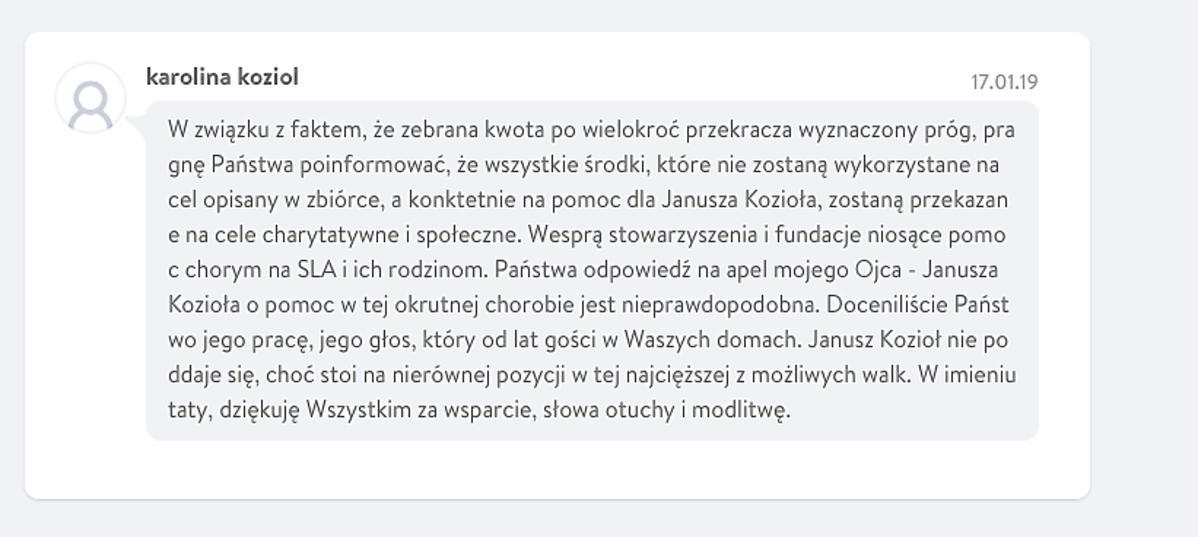Janusz Kozioł nie żyje, wpis córki