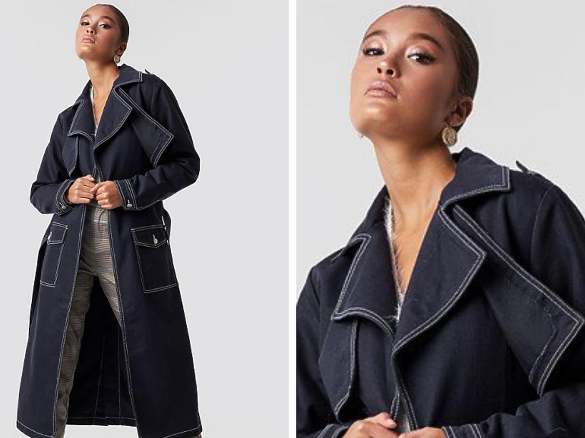 Jeansowy płaszcz NA-KD cena 182 zł