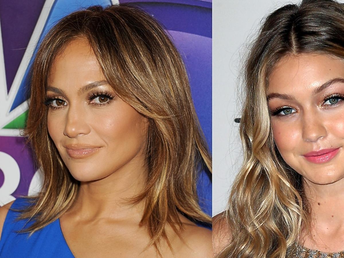 Jennifer Lopez, Gigi Hadid w złotym makijażu