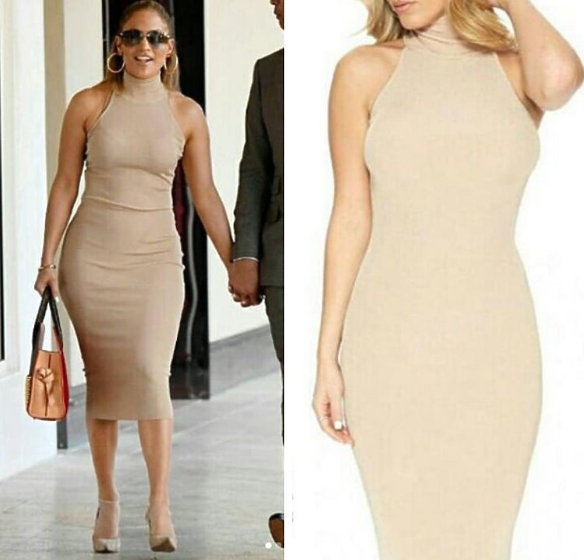 Jennifer Lopez w obcisłej beżowej sukience Naked
