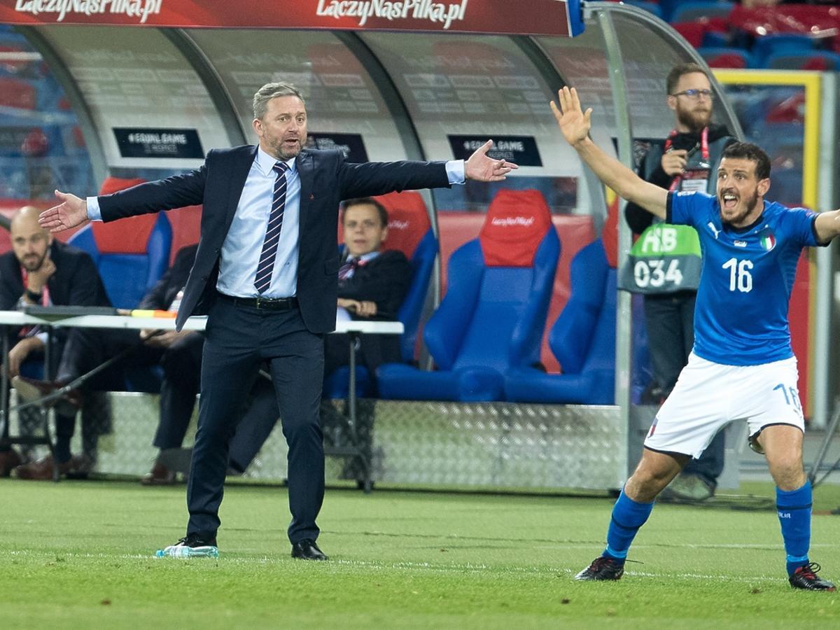 Jerzy Brzęczek na meczu Polska-Włochy
