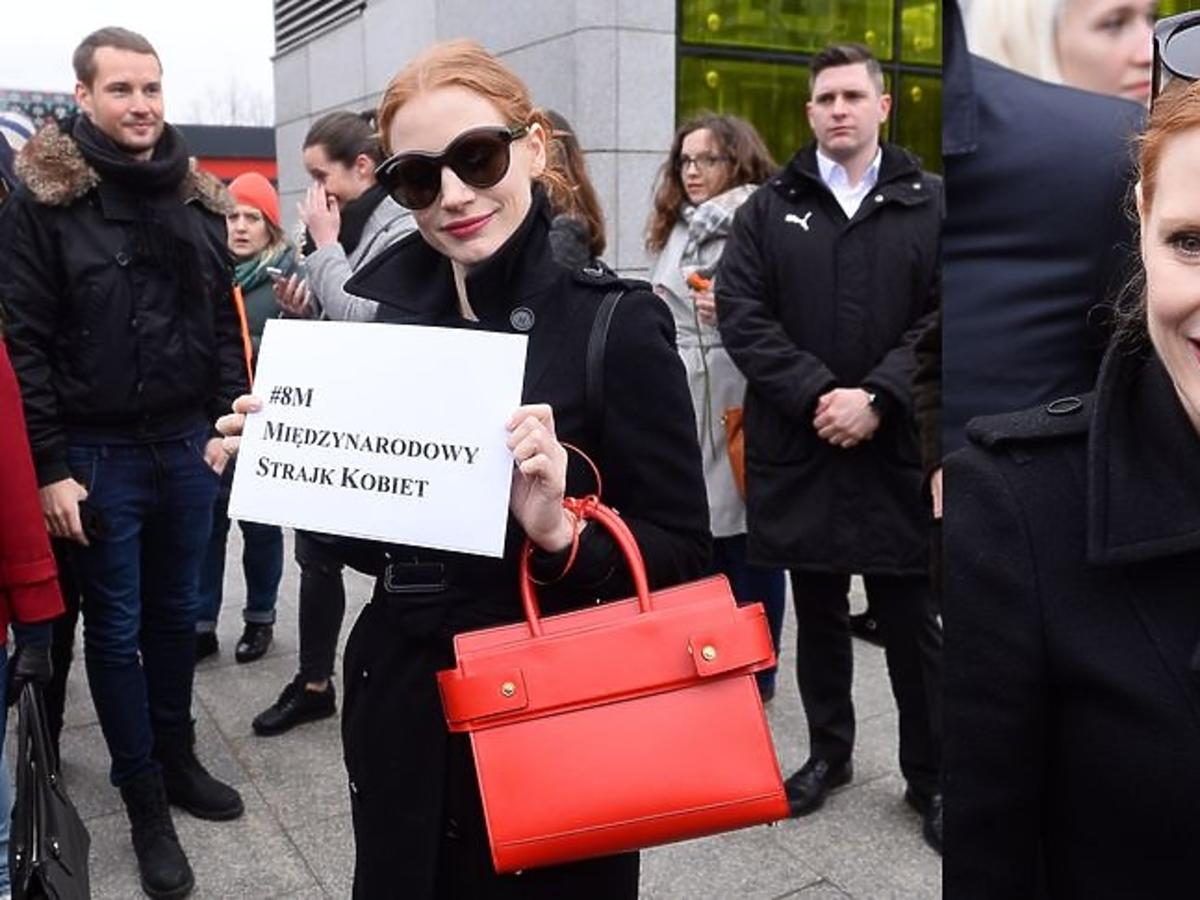 Jessica Chastain na proteście kobiet w Warszawie
