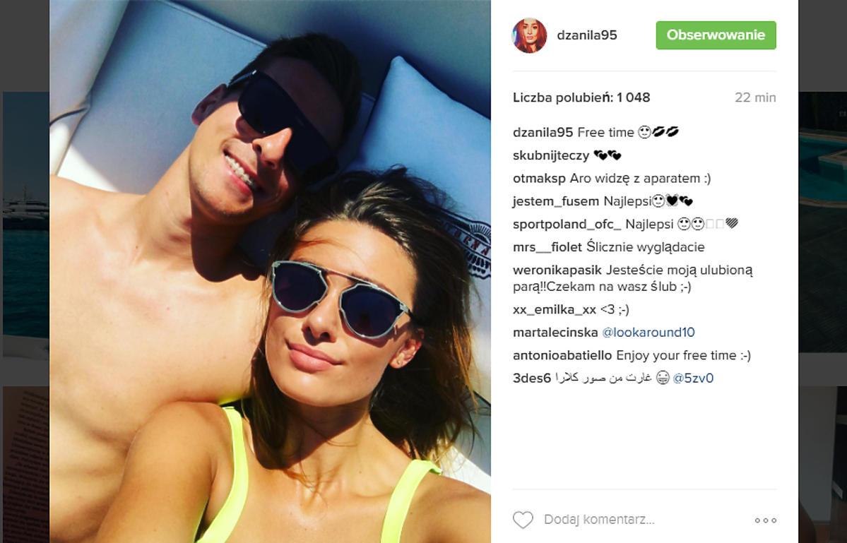Jessica Ziółek i Arek Milik świętują sukces piłkarza w nowym klubie