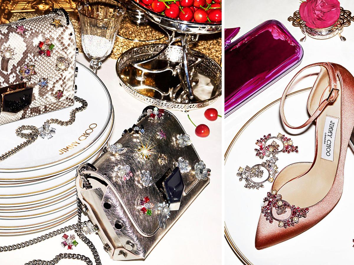 Jimmy Choo: buty, torebki personalizowane, z kryształowymi przypinkami - broszkami