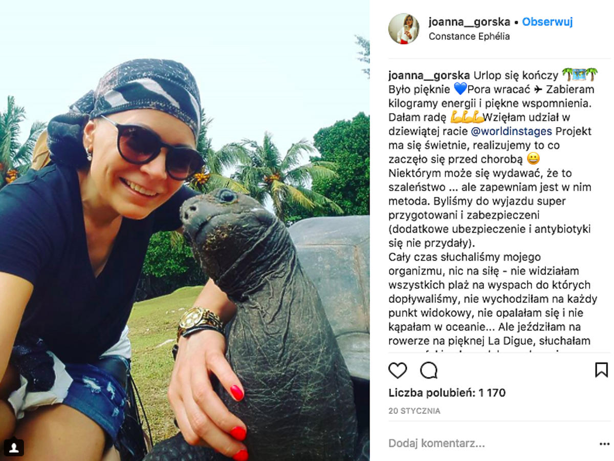 Joanna Górska kończy chemioterapię