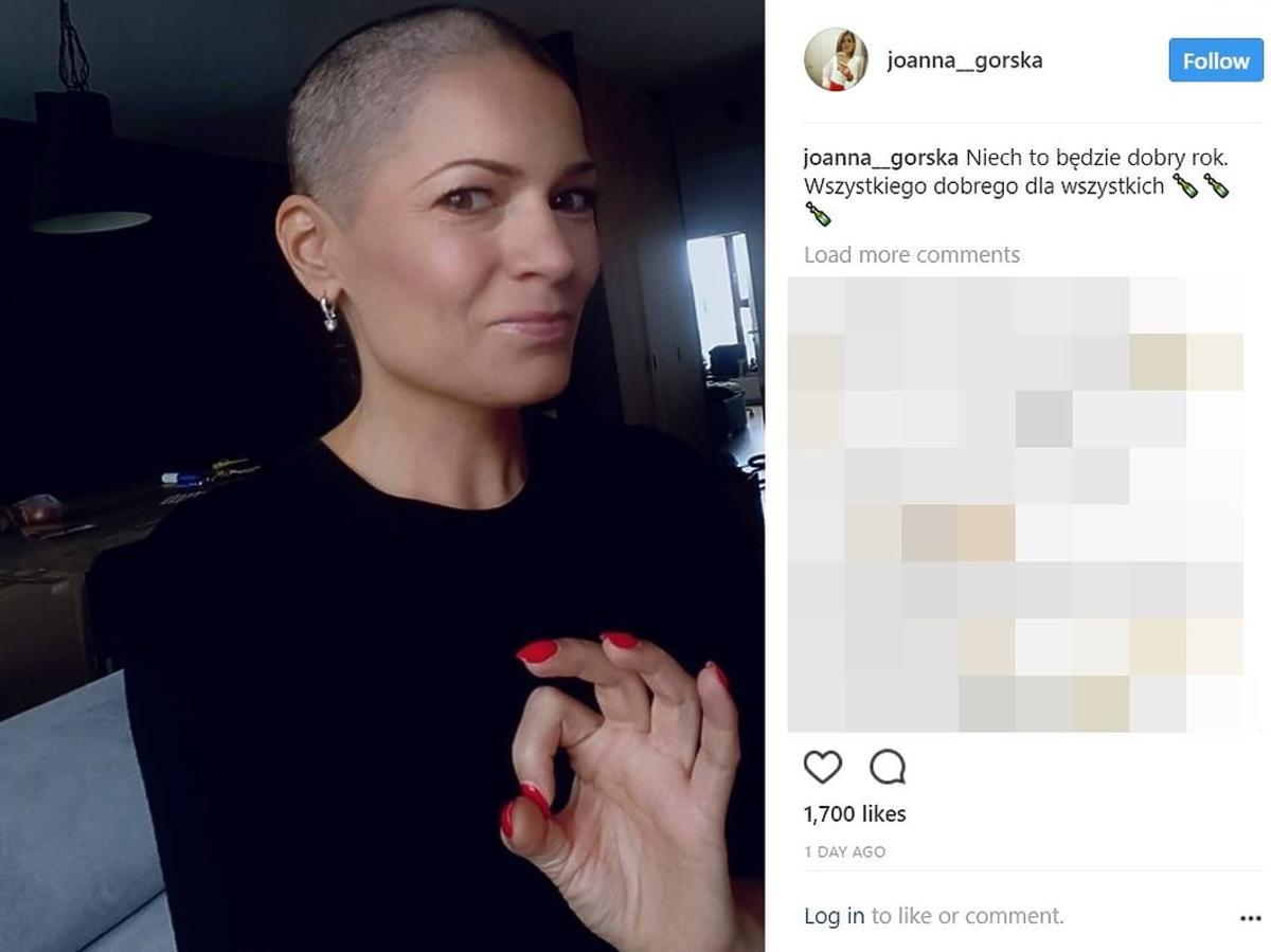 Joanna Górska pokazała swoje zdjęcie bez peruki