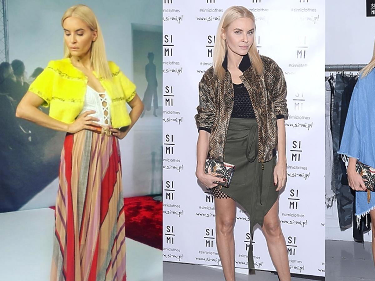 Joanna Horodyńska w trzech kolorowych stylizacjach
