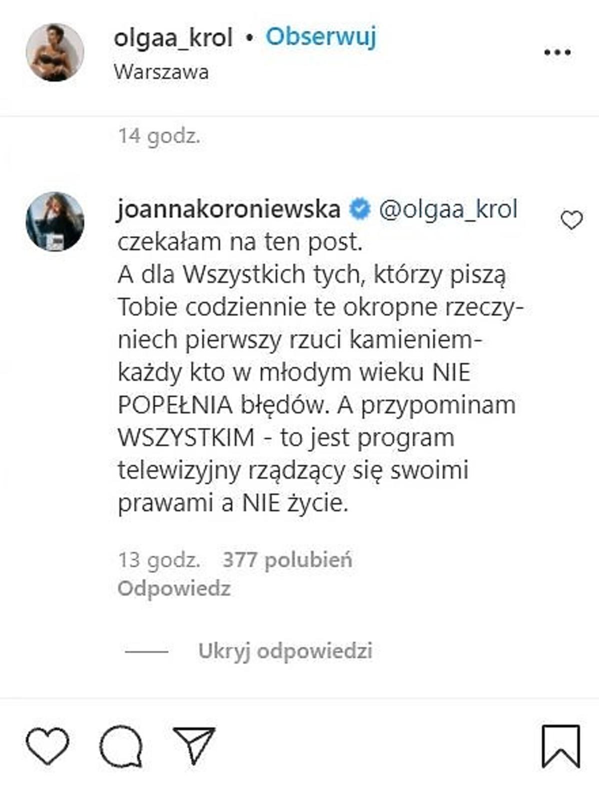 Joanna Koroniewska komentuje oświadczenie Olgi Król z Top Model