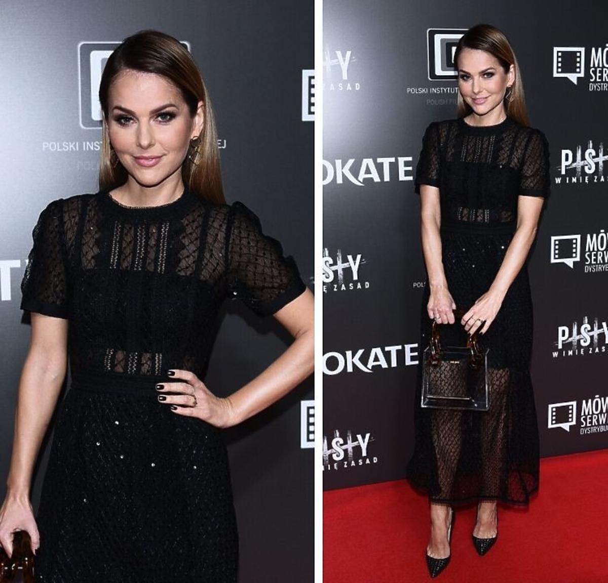 Joanna Koroniewska w czarnej koronkowej sukience
