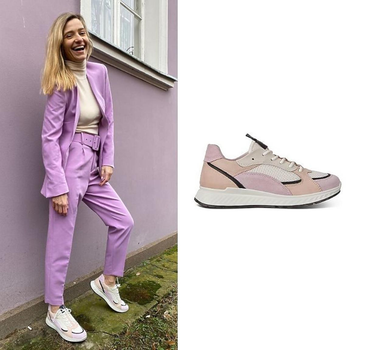Joanna Koroniewska w garniturze lila z Zary i kolorowych sneakersach