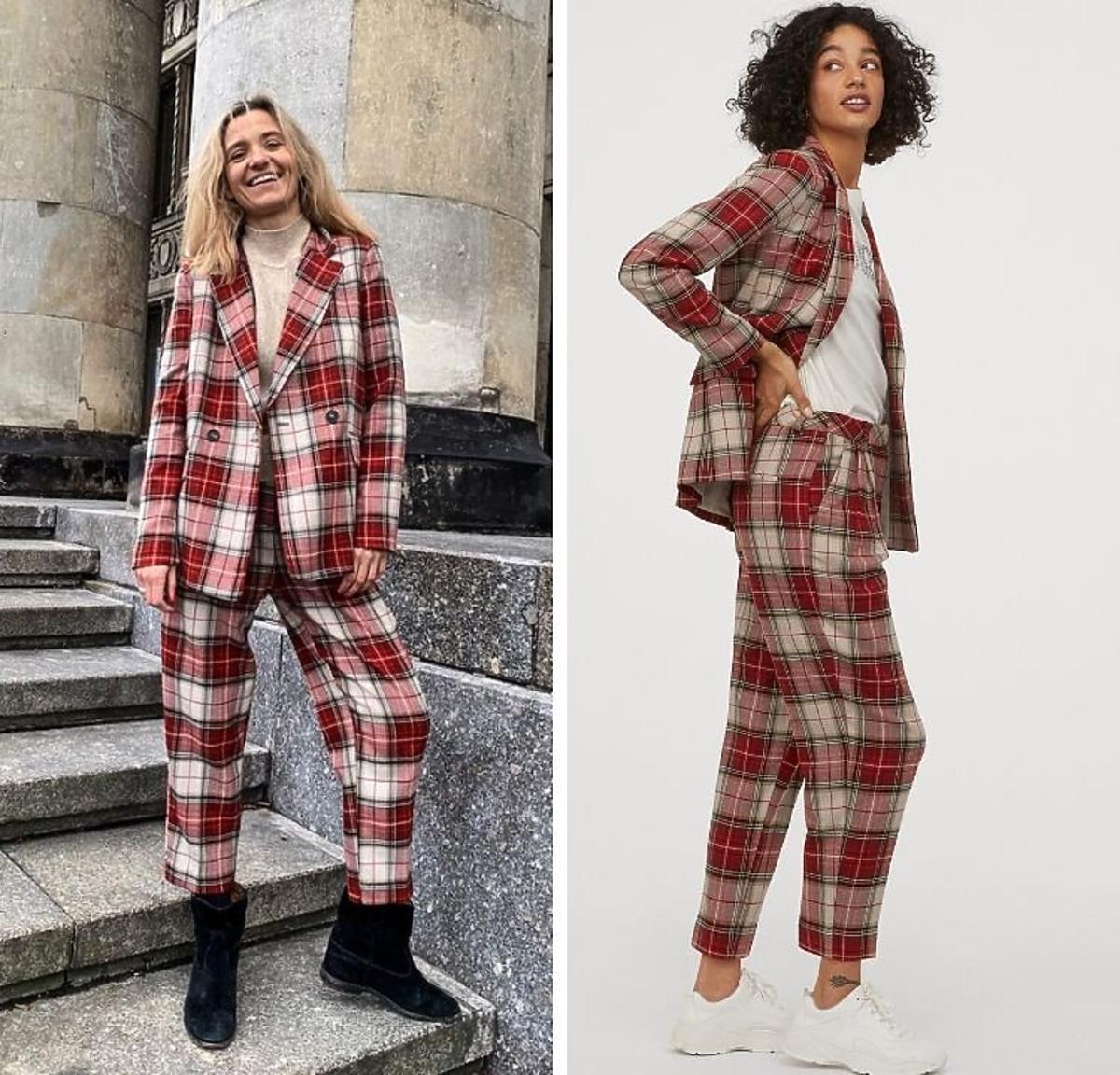 Joanna Koroniewska w garniturze w kratę z H&M