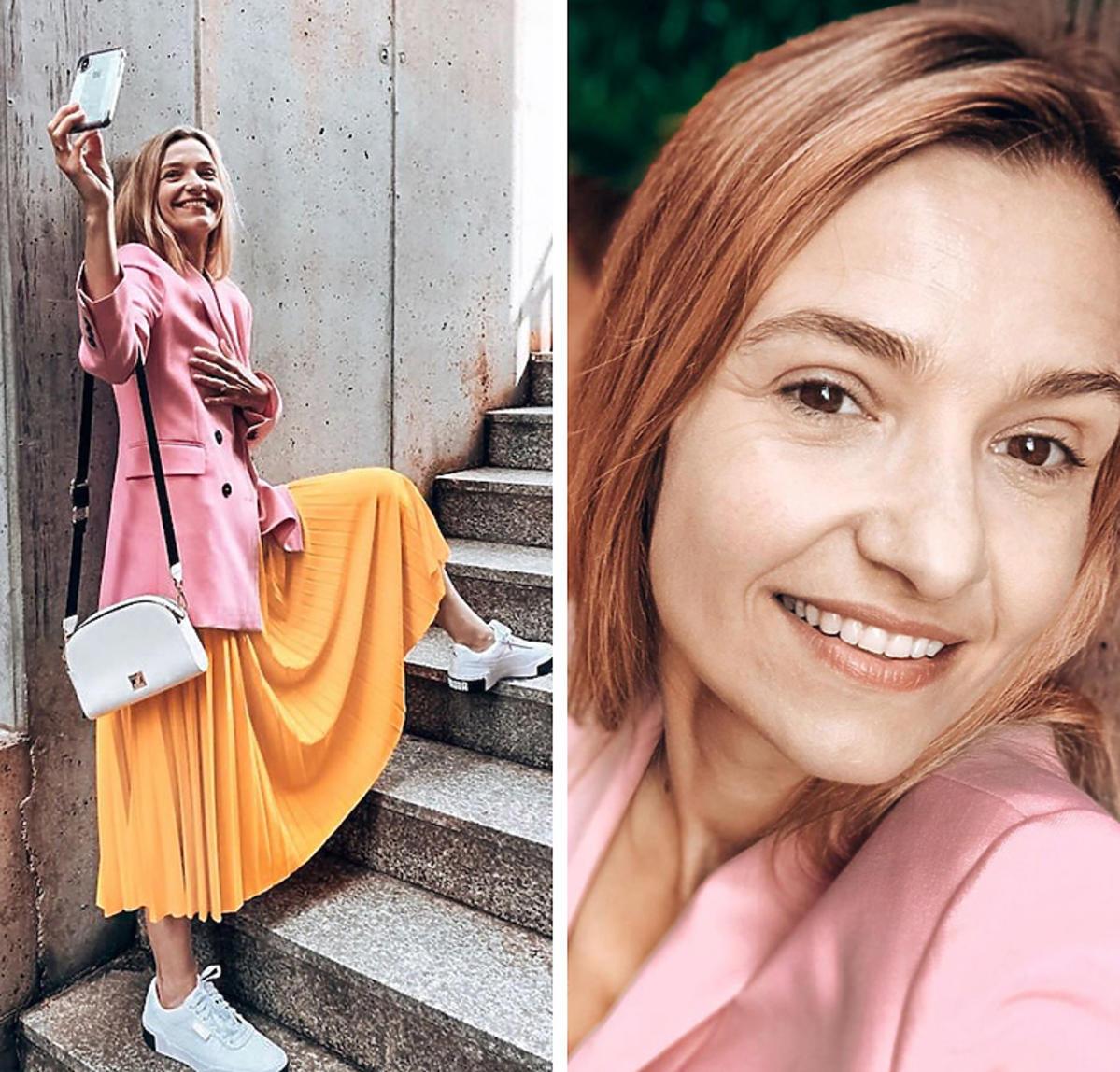 Joanna Koroniewska w różowej marynarce