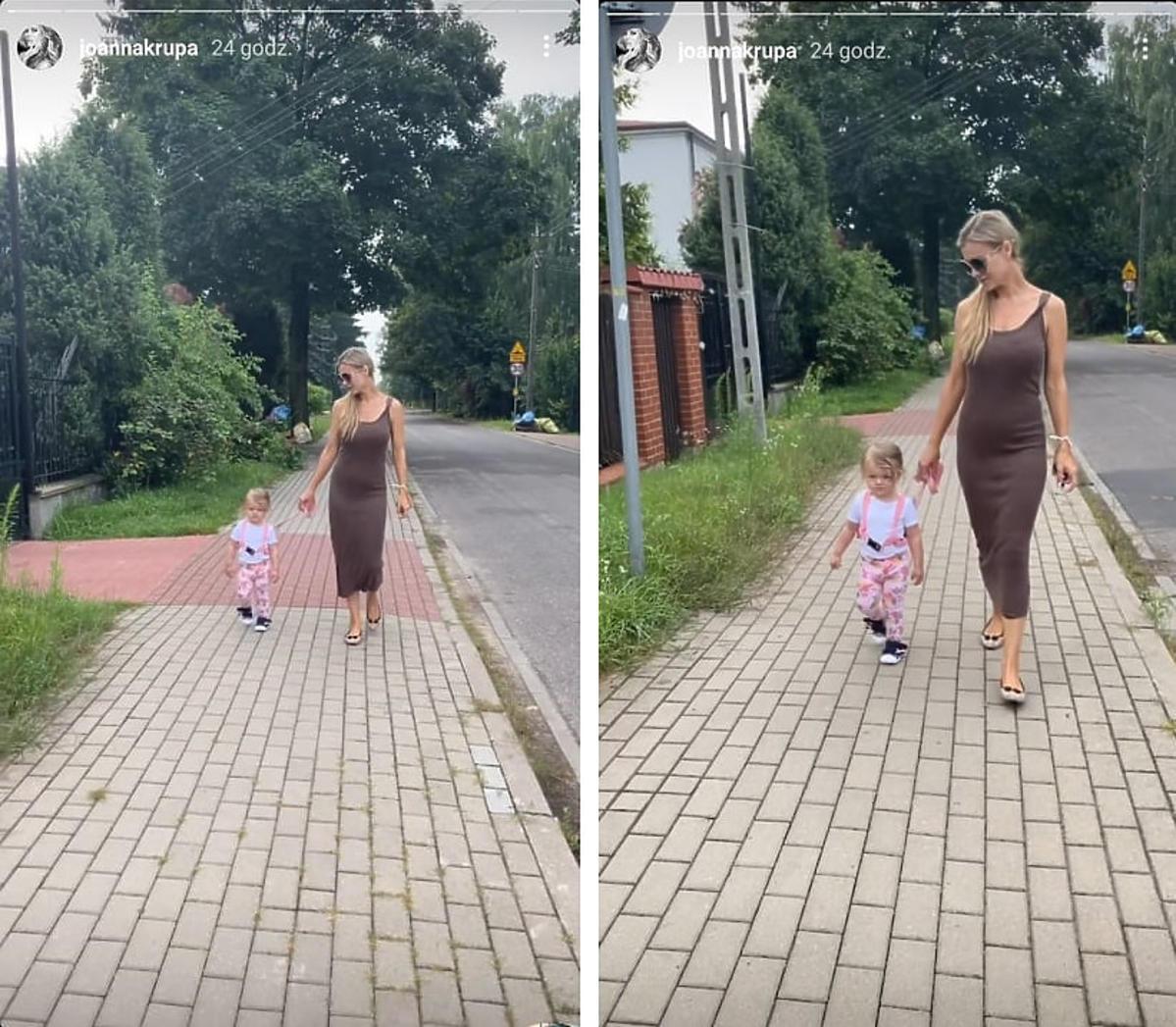 Joanna Krupa na spacerze prowadzi córkę na smyczy