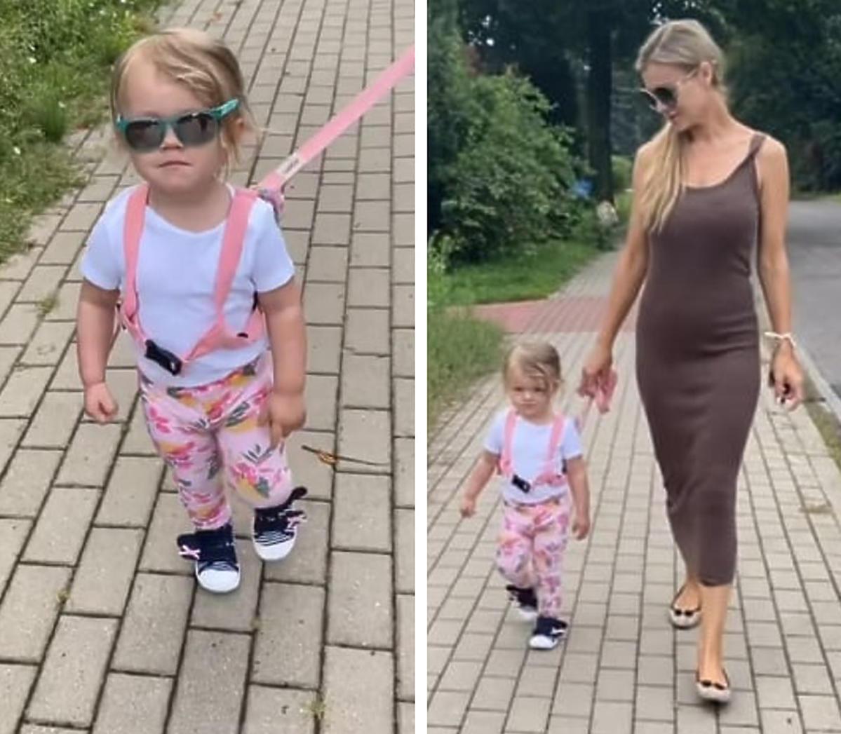 Joanna Krupa prowadzi córkę na smyczy