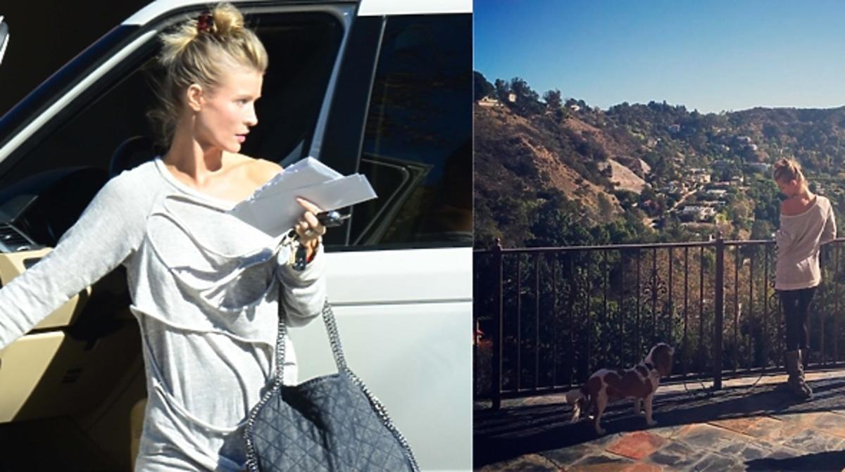 Joanna Krupa w szarej bluzie z psami w Los Angeles bez makijażu