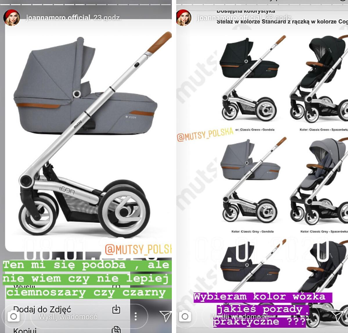 Joanna Moro wybiera wózek dla córki