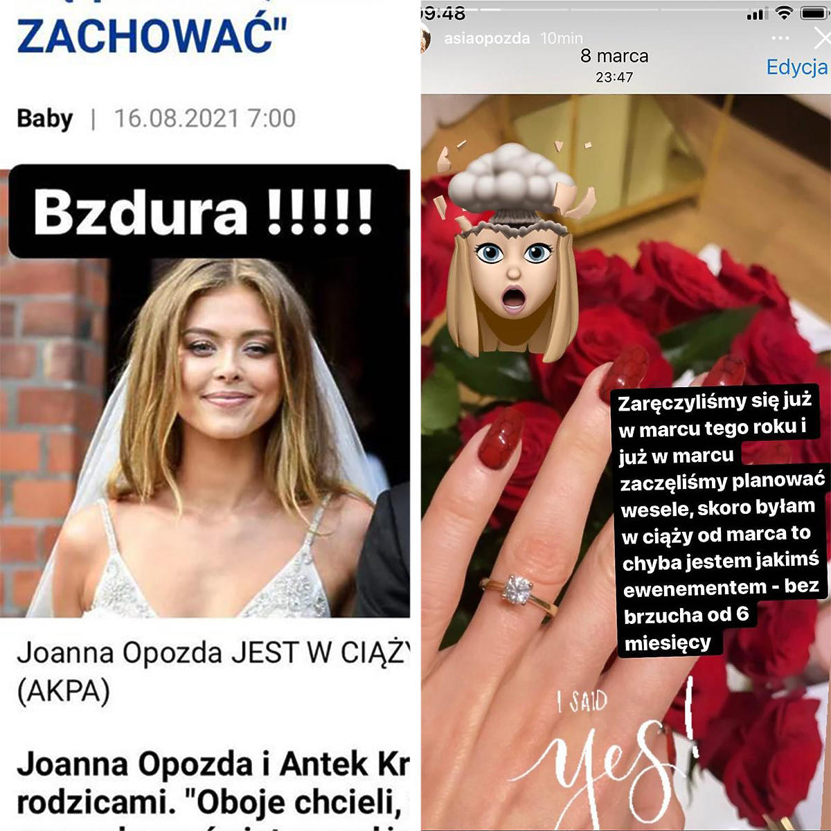 Joanna Opozda dementuje plotki o ciąży