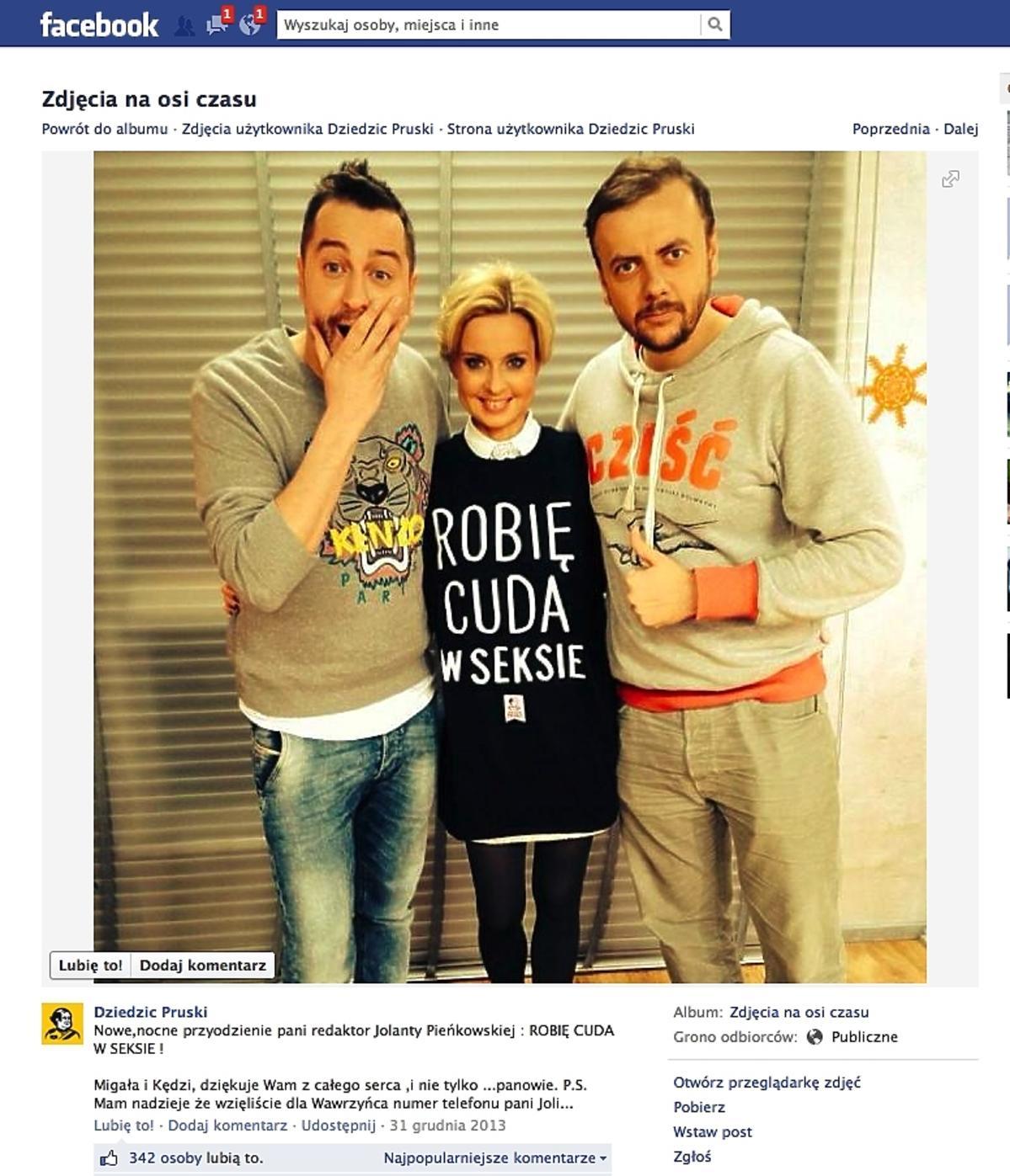 Jola Pieńkowska w koszulce Robię cuda w seksie