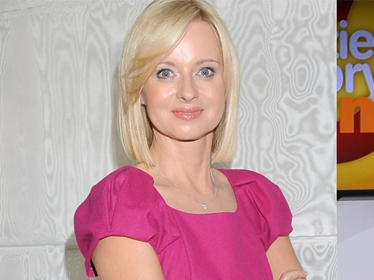 Jolanta Pieńkowska w różowej sukience