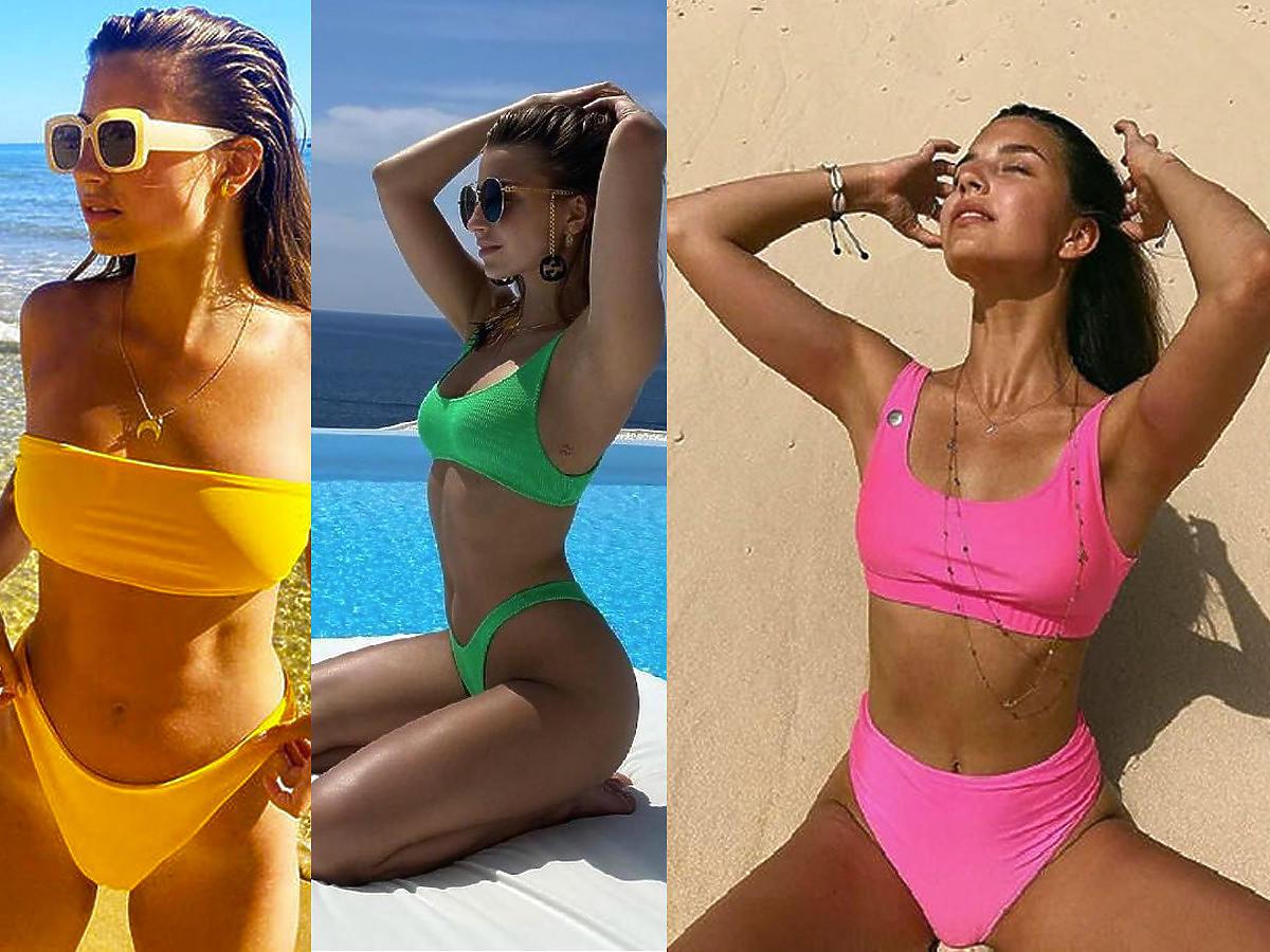 Julia Wieniawa i kolorowe kostiumy kąpielowe dwuczęściowe