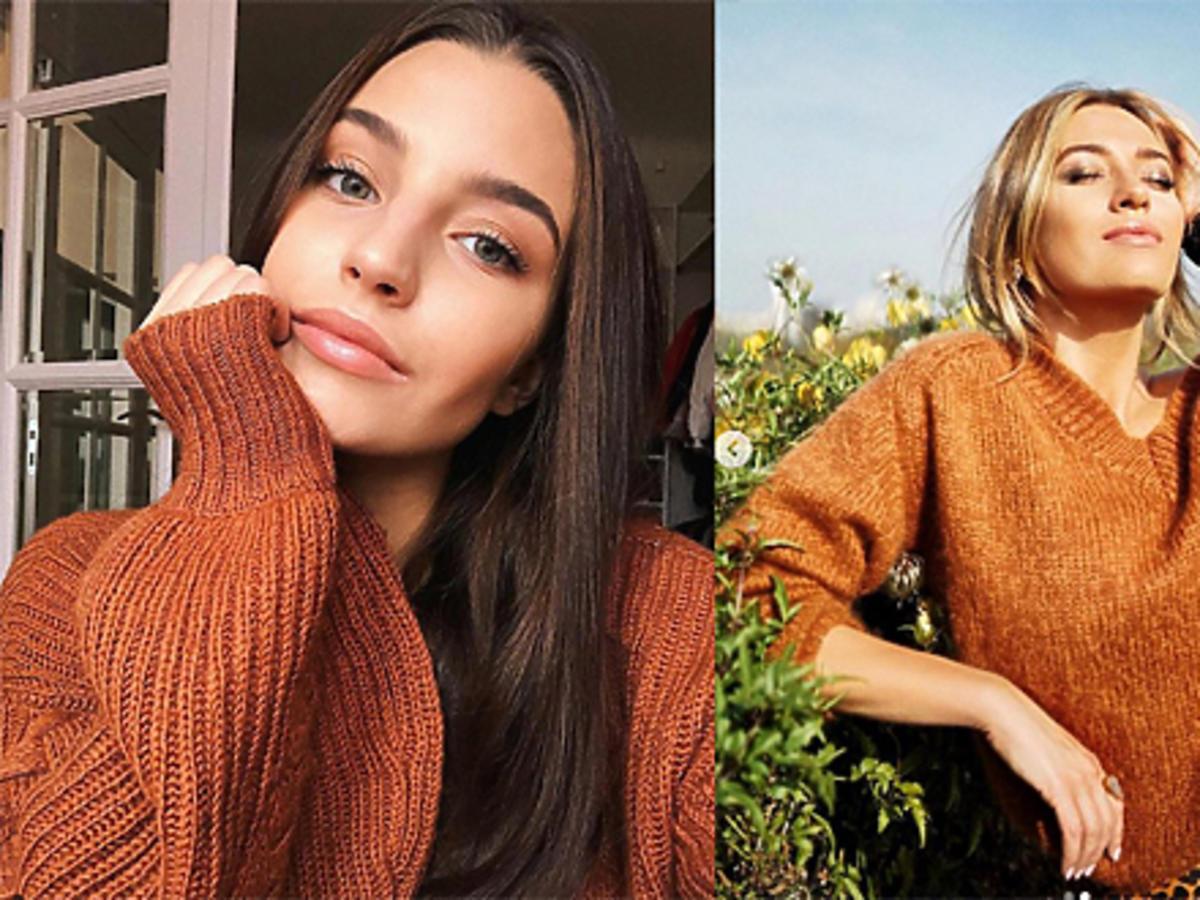 Julia Wieniawa i Marcelina Zawadzka  w rudym swetrze