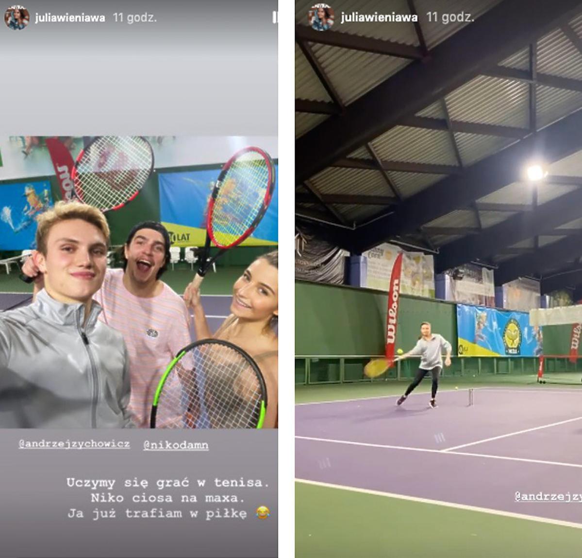Julia Wieniawa i Nikodem Rozbicki grają w tenisa
