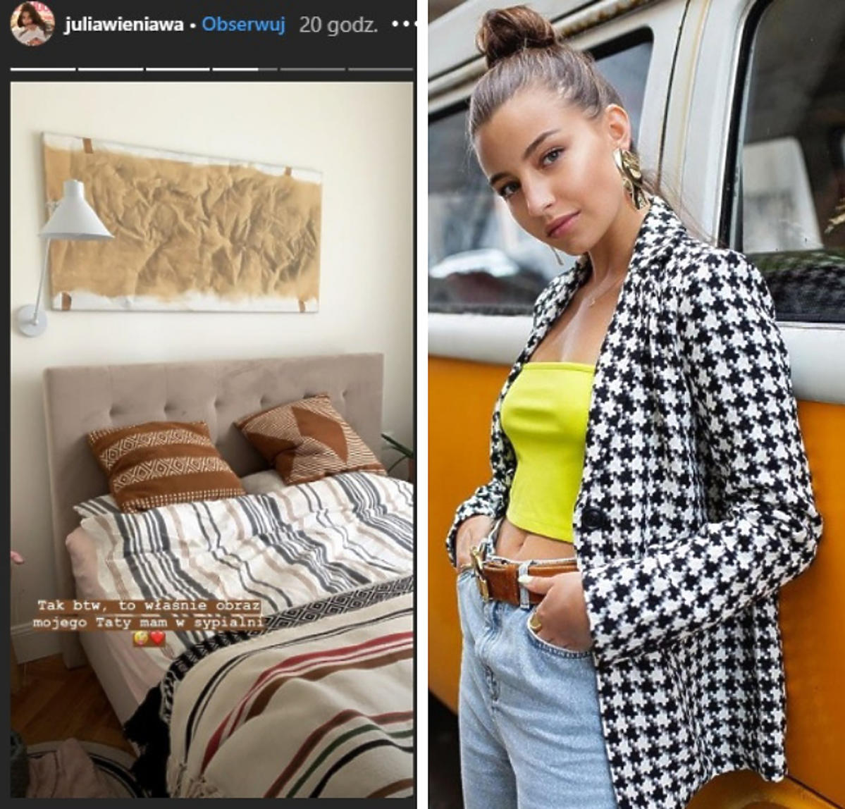 Julia Wieniawa powiesiła w sypialni obraz taty